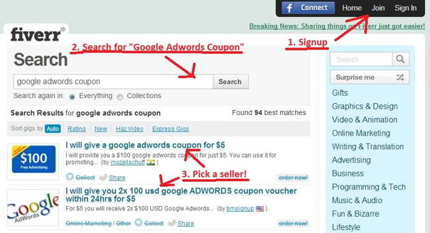 Getting a google adwords promotional code of $100